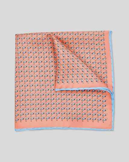 Einstecktuch mit Tukan-Print - Orange & Himmelblau