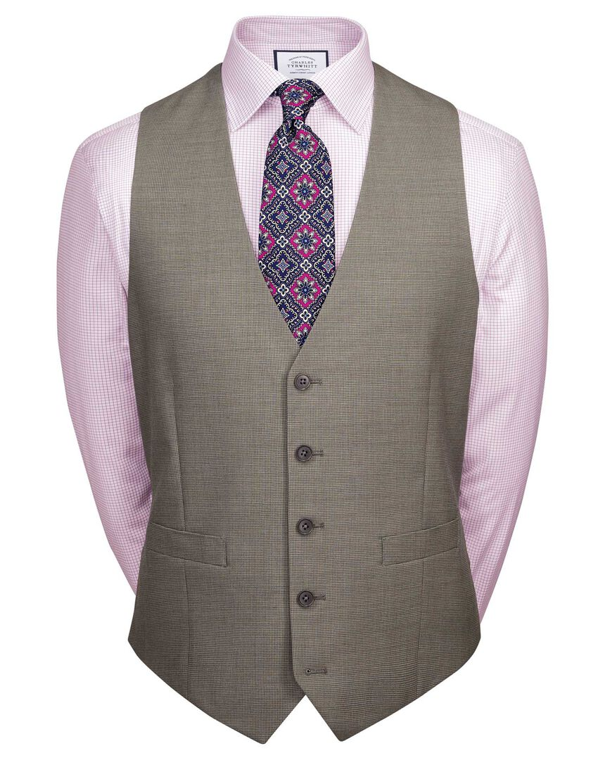 Natural puppytooth slim fit Panama business suit vest