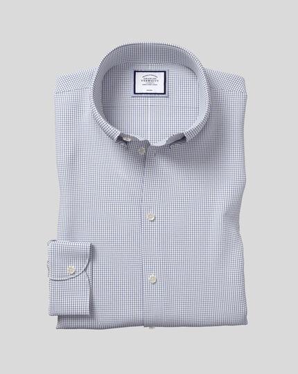 Chemise à carreaux et col boutonné sans repassage - Bleu roi