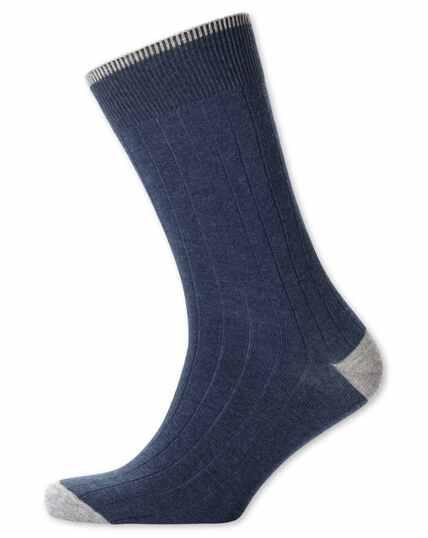 Chaussettes bleu indigo côtelées