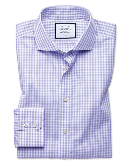 Extra slim fit non-iron purple check Tyrwhitt Cool shirt