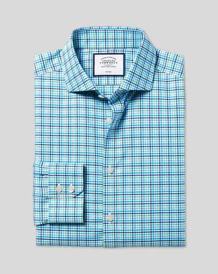 Bügelfreies Tyrwhitt Cool Popeline-Hemd mit Haifischkragen und Karos - Blau & Grün