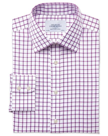 Bügelfreies Extra Slim Fit Hemd in Lila mit Gitterkaros