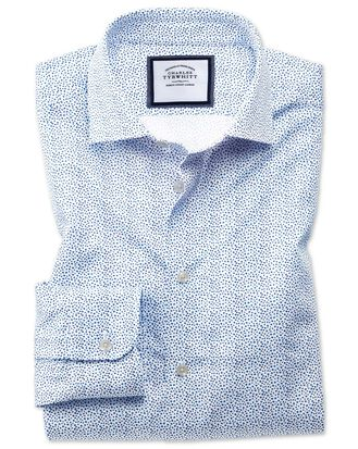 Classic fit semi-spread collar business casual white and blue ditsy print shirt