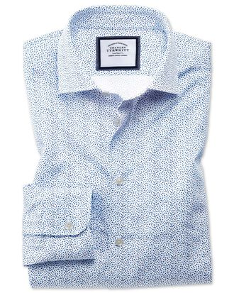 Slim fit semi-spread collar business casual white and blue ditsy print shirt
