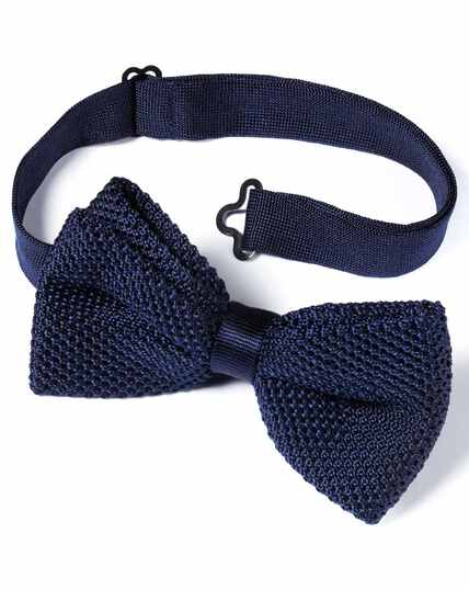 Navy silk knitted ready-tied bow tie