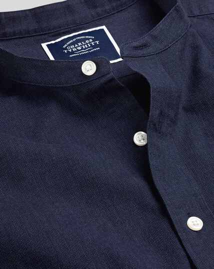 Collarless Cotton Linen Shirt - Navy