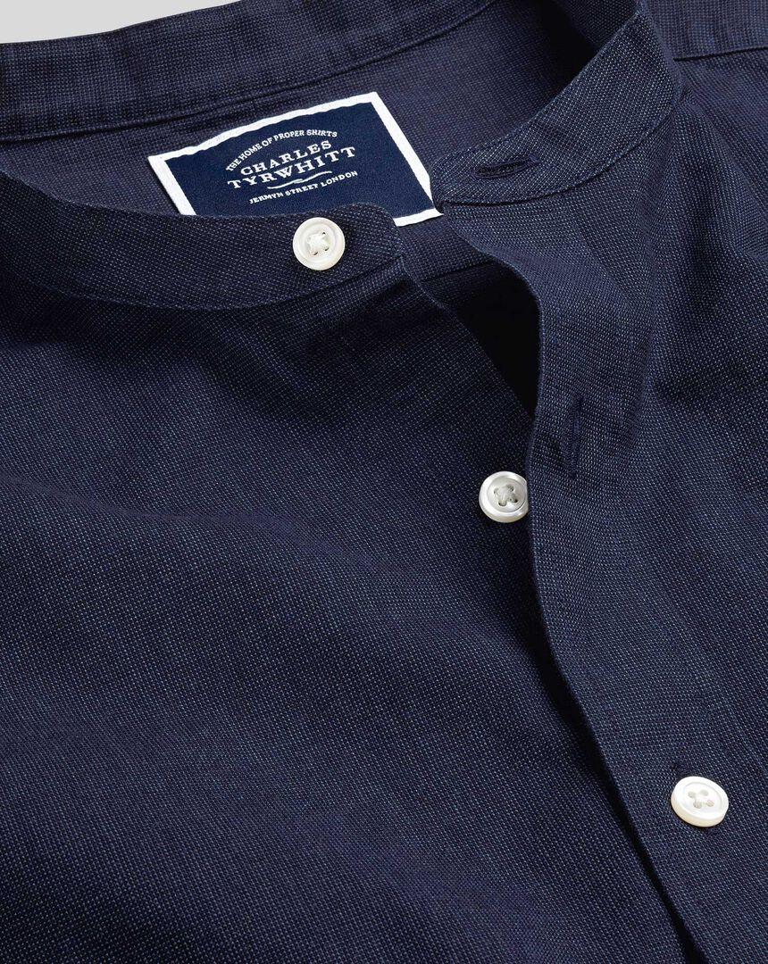 Kragenloses Hemd aus Baumwoll und Leinen - Marineblau