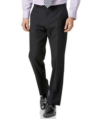Charcoal classic fit twill business suit pants