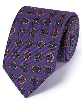 Purple silk English luxury medallion tie