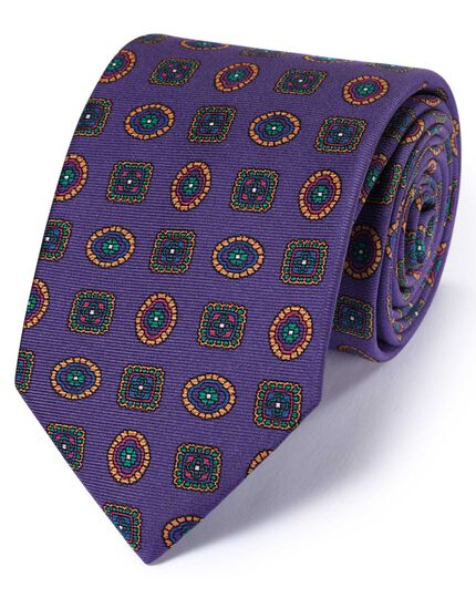 Purple silk English luxury medallion tie