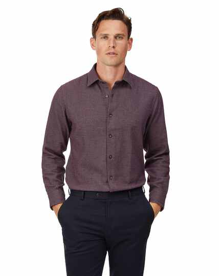 Slim fit berry semi winter flannel plain shirt