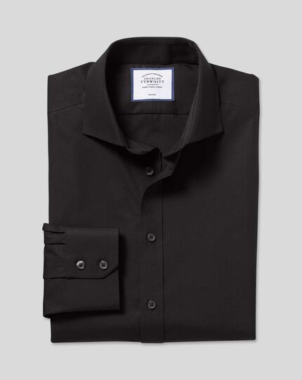 Spread Collar Non-Iron Poplin Shirt  - Black