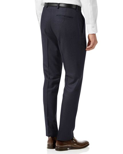 Navy stripe slim fit flannel business suit trousers