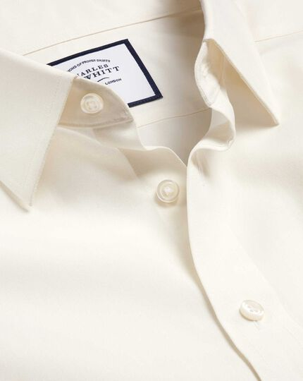 Classic Collar Non-Iron Poplin Shirt  - Cream