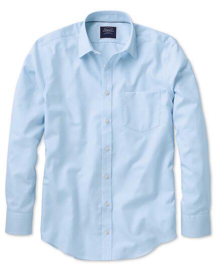 Chemise bleu clair unie en oxford coupe droite sans repassage