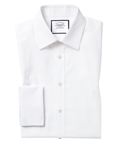 Classic fit white Egyptian cotton poplin shirt