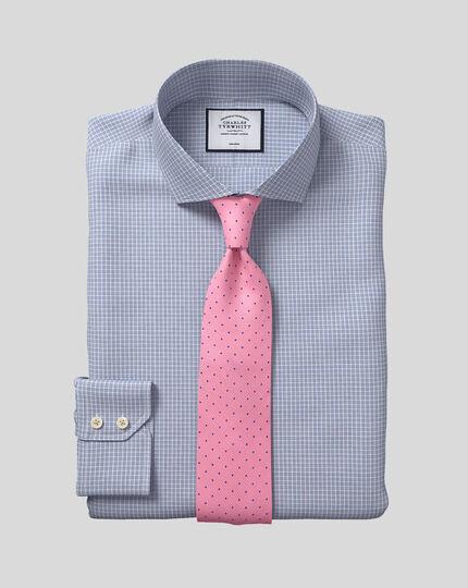 Spread Collar Non-Iron Cotton Stretch Check Shirt - White & Blue