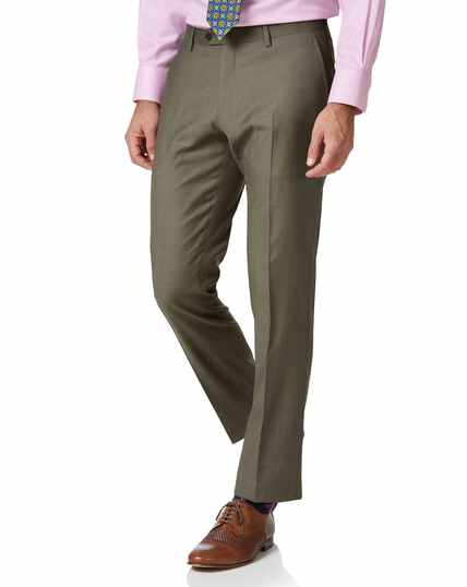 Olive slim fit twill business suit trousers
