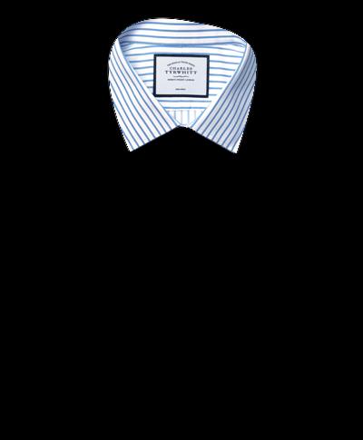 Super slim fit non-iron twill stripe white and sky blue shirt