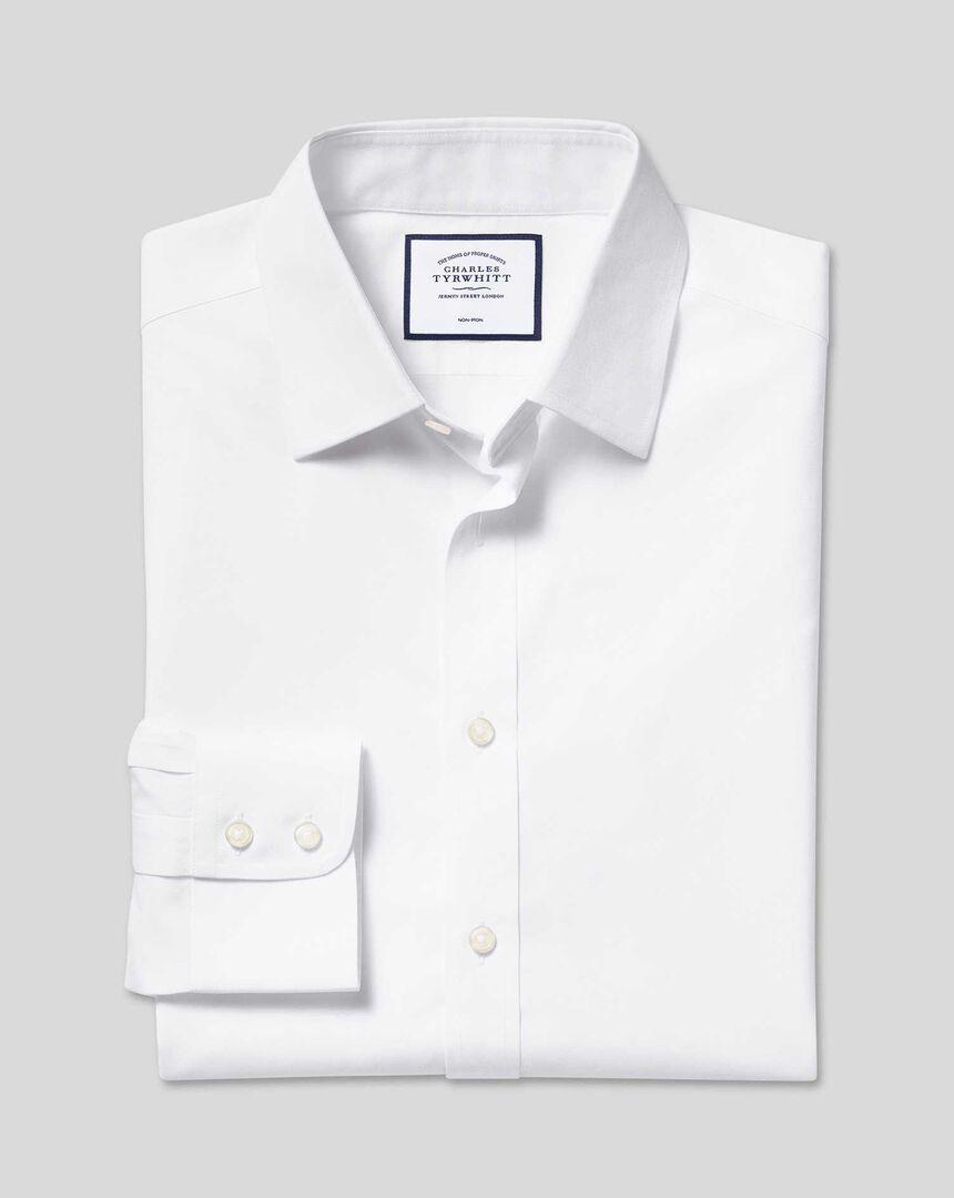 Bügelfreies Popeline-Hemd mit Kent-Kragen - Weiß