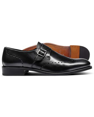 Black brogue monk shoes