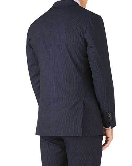 Navy stripe slim fit crepe business suit jacket