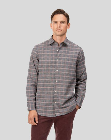 Classic fit cotton with TENCEL™ orange and grey Prince of Wales check shirt