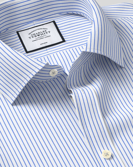 Classic Collar Non-Iron Dobby Stripe Shirt - Sky