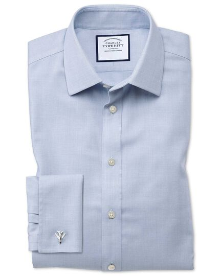 Chemise bleue en tissage échelle coupe droite sans repassage