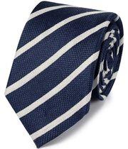 Navy linen silk stripe classic tie