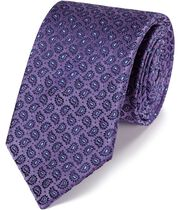 Lilac silk paisley classic tie