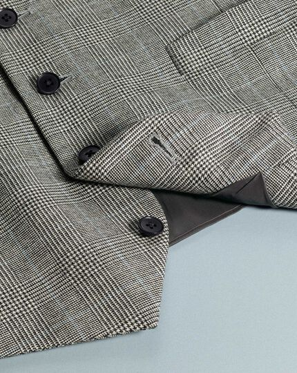 Grey adjutsable fit Prince of Wales check flannel business suit waistcoat