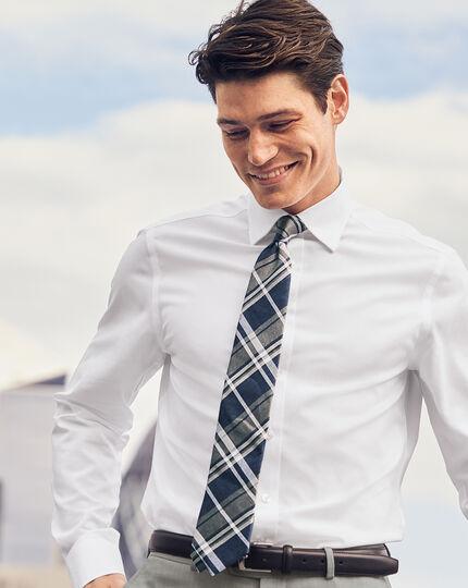 Spun Silk Linen Check Classic Tie - Blue & Navy