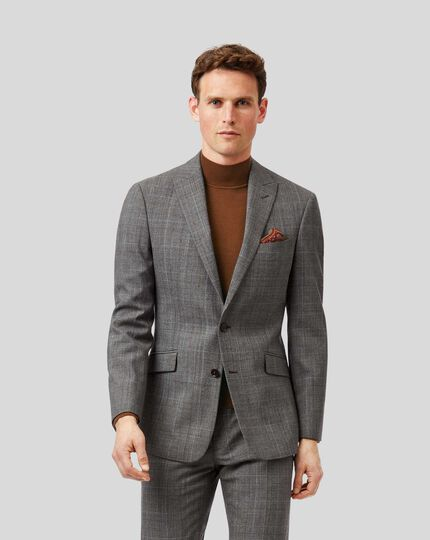 Prince Of Wales Check Business Suit Jacket - Grey