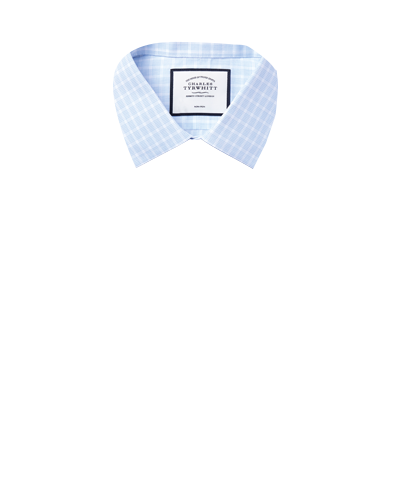 Classic Collar Non-Iron Poplin Check Shirt - Sky