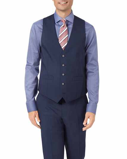 Navy adjustable fit step weave suit waistcoat