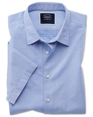 Slim fit blue square short sleeve soft texture shirt