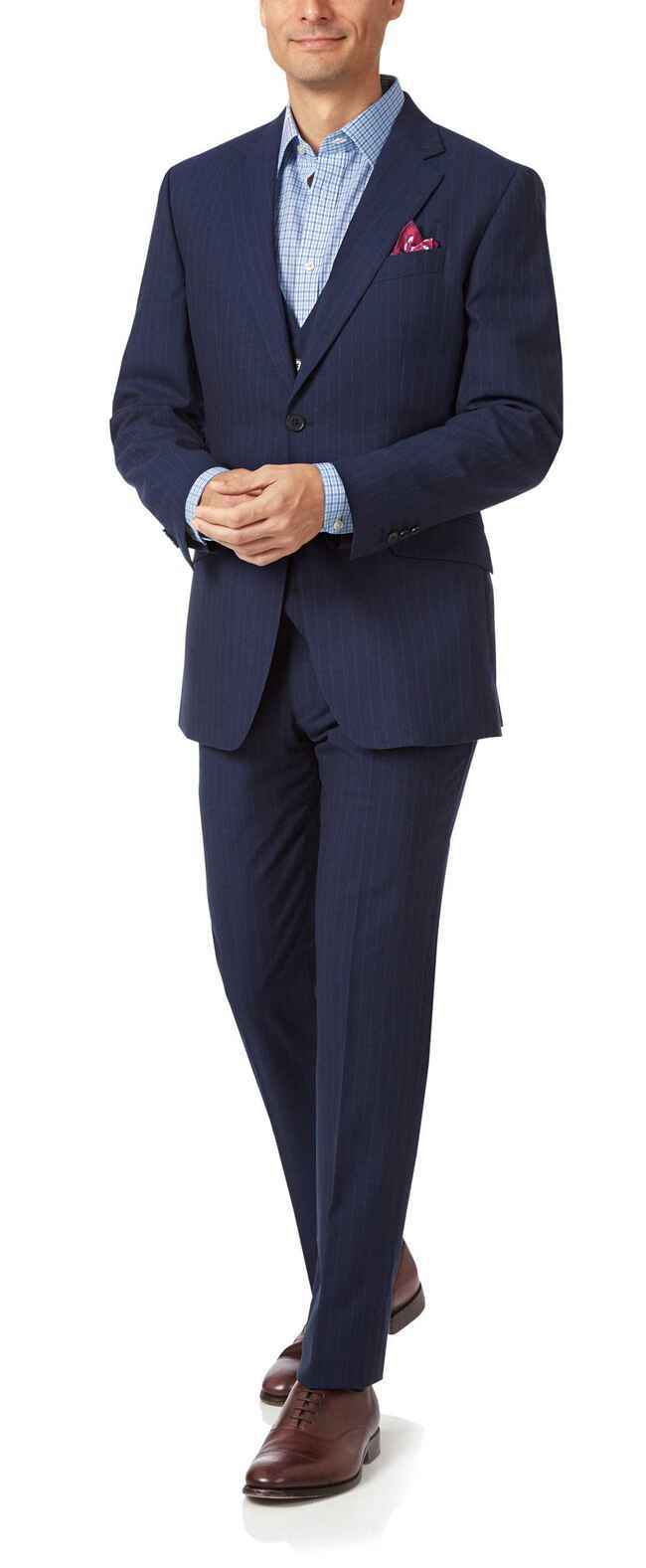 Navy slim fit Panama stripe business suit