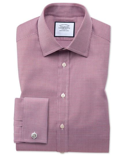 Slim fit red small puppytooth Egyptian cotton shirt