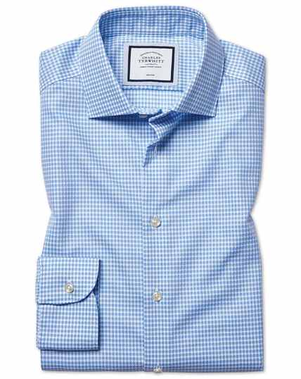 Extra slim fit non-iron natural stretch sky blue shirt