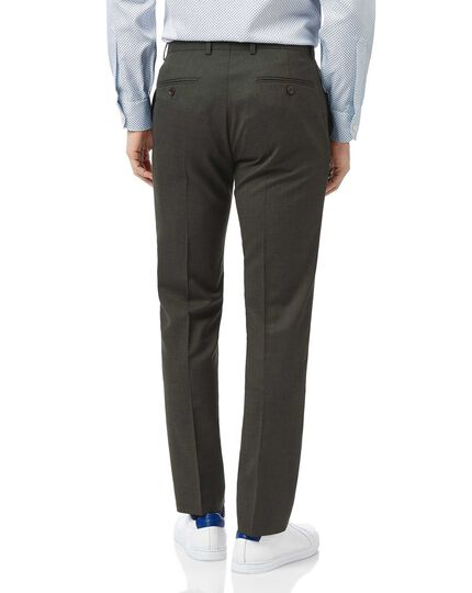 Green slim fit merino business suit trousers