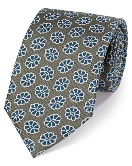 Olive silk medallion print English 7-fold luxury tie
