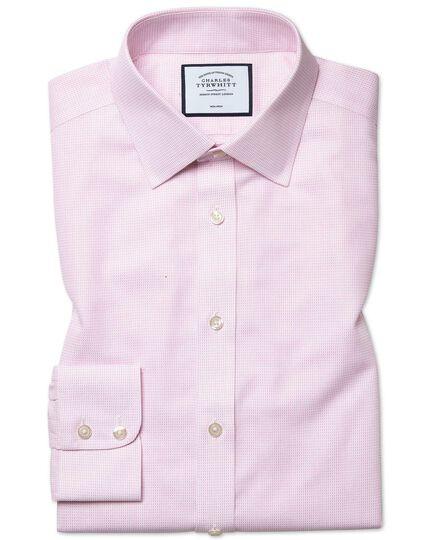 Slim fit non-iron dash weave pink shirt