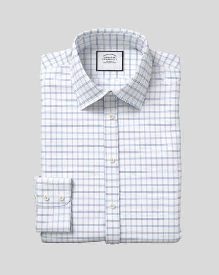 Classic Collar Cotton with TENCEL™ Check Shirt - Blue
