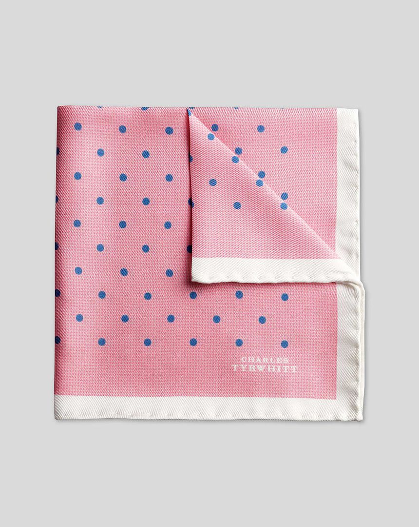 Classic Printed Spot Pocket Square - Pink & Blue