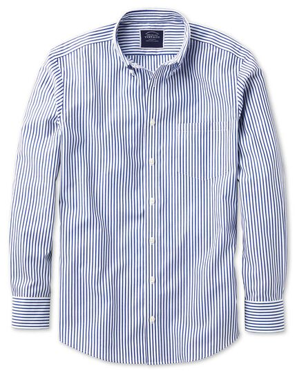 Slim fit button-down non-iron poplin blue stripe shirt