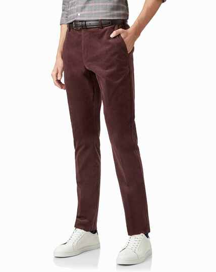 Burgundy needle cord pants