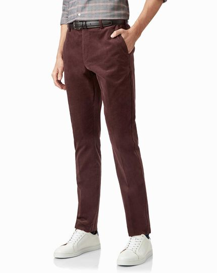 Burgundy needle cord trousers