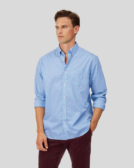 Classic fit soft washed non-iron stretch poplin gingham sky blue shirt